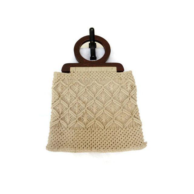 Macrame Handbag / Macrame Purse / 70s Hippie Purse / Wood Handle Bag / 1970s Purse / Boho Bag / Round Handle Purse / Crochet Purse by GoodLuxeVintage on Etsy