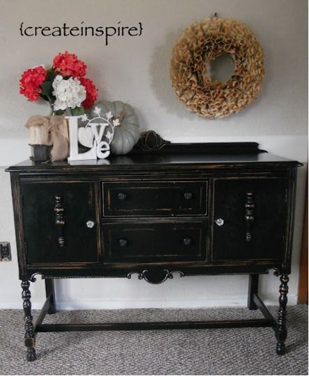 Awesome Distressed Black Vintage Buffet Bright And Beautiful Interior Design Ideas Helimdqseriescom