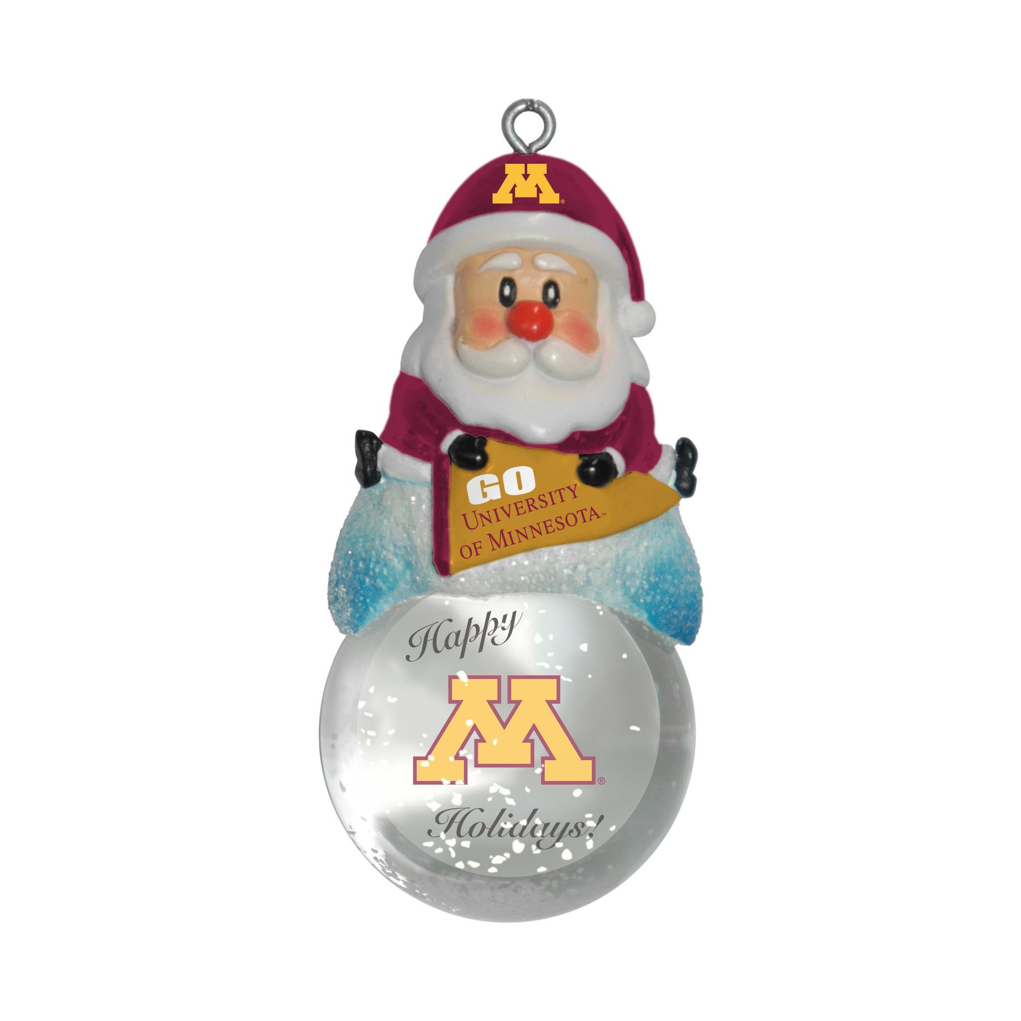 Minnesota Golden Gophers Ornament - Santa Snow Globe