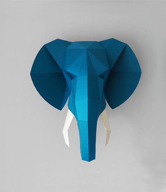 Elephant Head Paper 3d Wall Art Pdf Pattern Wall Decor 3d Wall Art Elephant Head Paper Sculpture