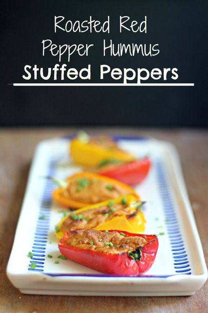 Roasted Red Pepper Hummus Stuffed Peppers What Jew Wanna Eat Recipe Stuffed Peppers Red Pepper Hummus Roasted Red Peppers