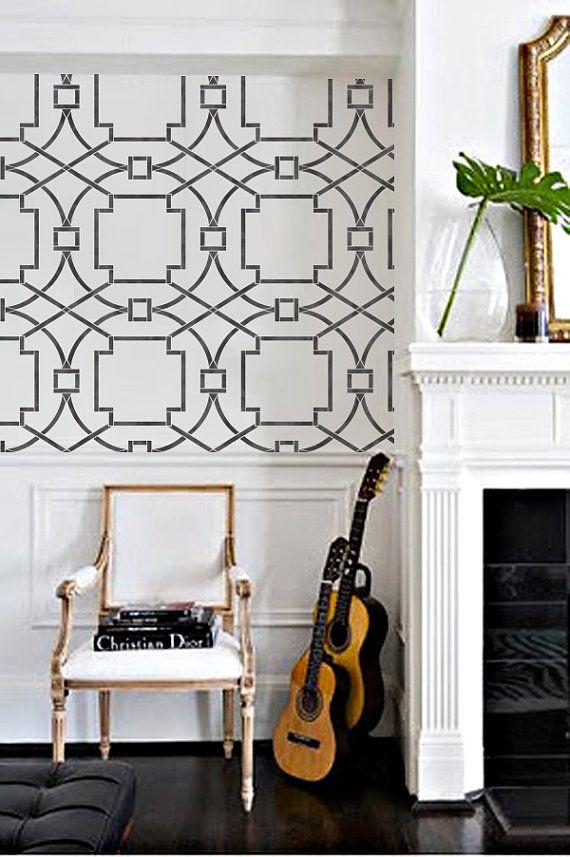 Wall Stencil Geo Trellis Pattern Wall Room Decor Made by OMG