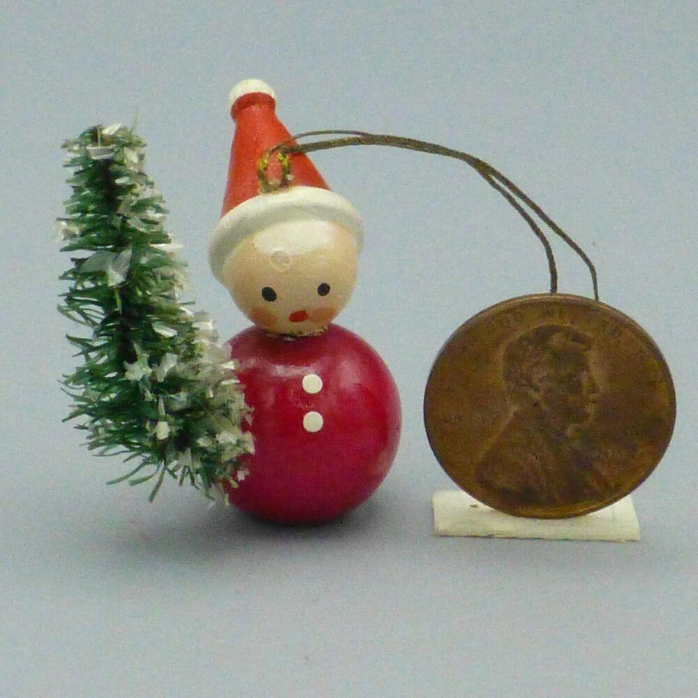 Vintage Mini Wood Santa Elf Bottle Brush Tree Ornament