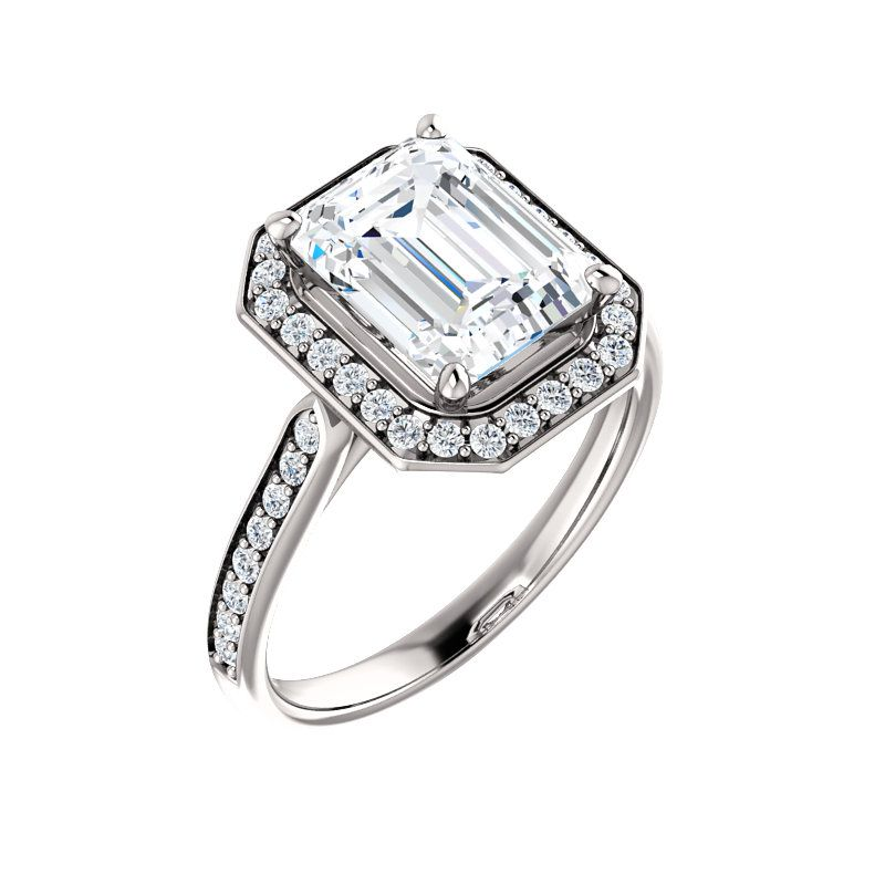 0a35854b9812c Emerald-Shaped Halo-Style Engagement Ring | ever&ever Click through ...