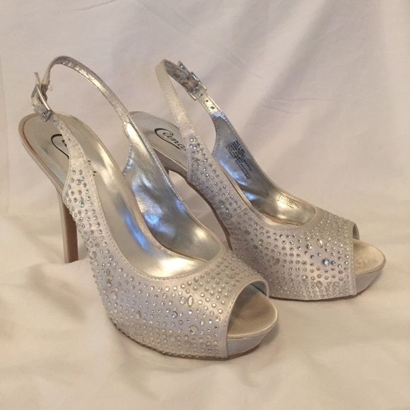 9afab61e75ee Candies Silver Rhinestone High Heels Candies brand from kohls-only worn  once-good condition-is a bit dirty in front of heel(where toes go) also can  see a …