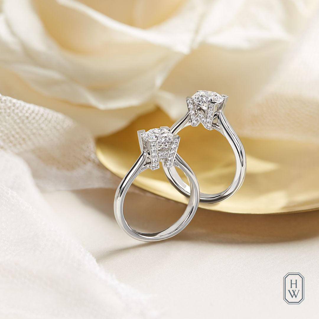 The Hw Logo Diamond Engagement Ring Perfectly Symbolizes The Eternal Bond Betwee Round Brilliant Diamond Engagement Ring Wedding Rings Unique Engagement Rings