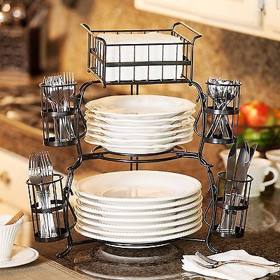 Giftburg 7 Piece Stackable Buffet Caddy Party Spoons Forks Cutlery Holder Server Kitchen Decor Kitchen Accessories Kitchen