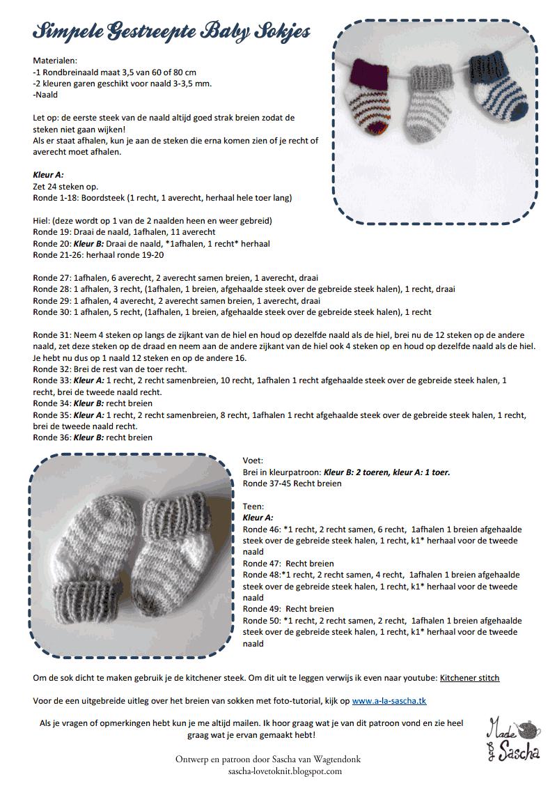 Simpele gestreepte baby sokjes.pdf | Creatief | Pinterest | Filing
