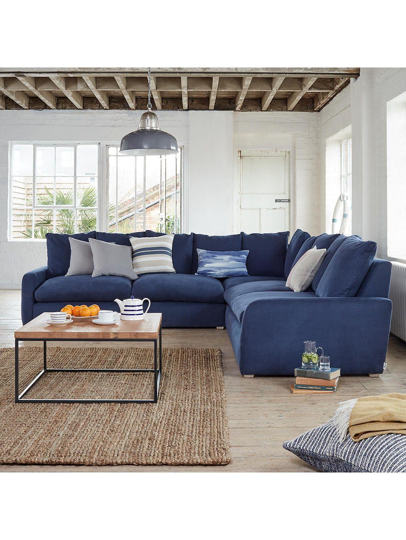 Floppy Jo Large Rhf Corner End Sofa By Loaf At John Lewis Brushed Cotton Navy Blue Corner Sofas Corner Sofa Living Room Corner Sofa