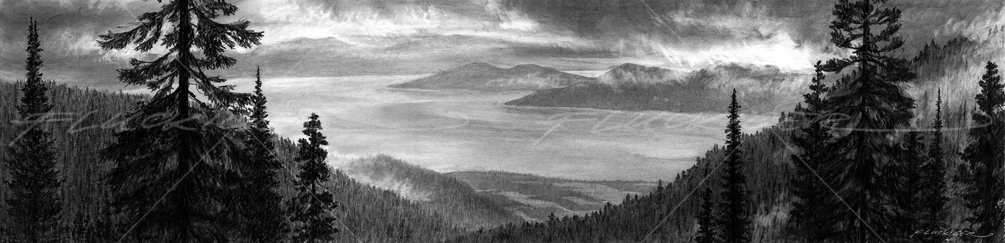 October 1: Idaho's Lake Pend Oreille stretches luxuriantly beneath the tumbling clouds of early fall, as majestic conifers lift their boughs in the sodden breeze.