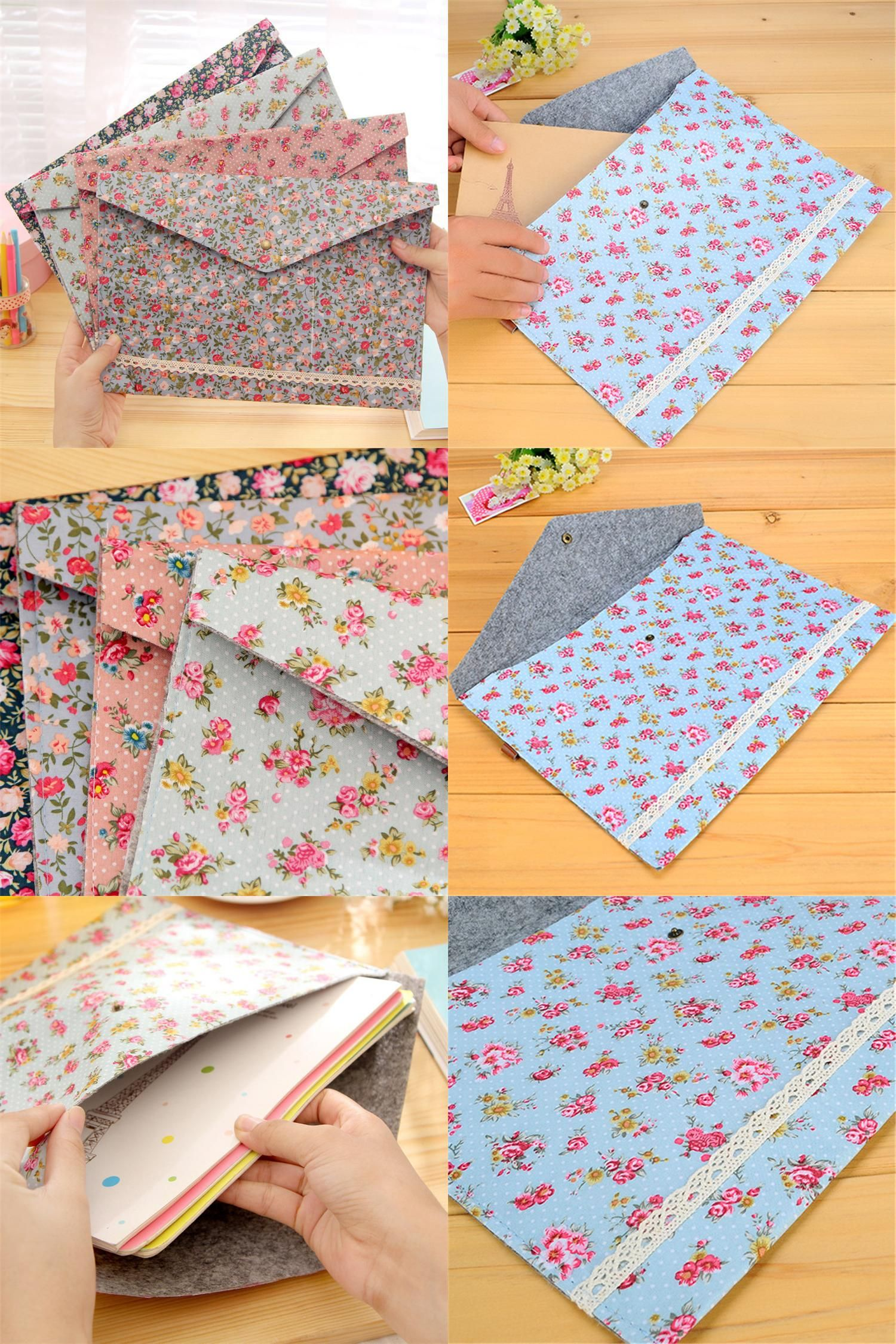 [Visit to Buy] 2017 New Vintage Small Flower Fabric A4 Document File Folder Floral Document Bag Novelty For School office Stationary HE119 #Advertisement