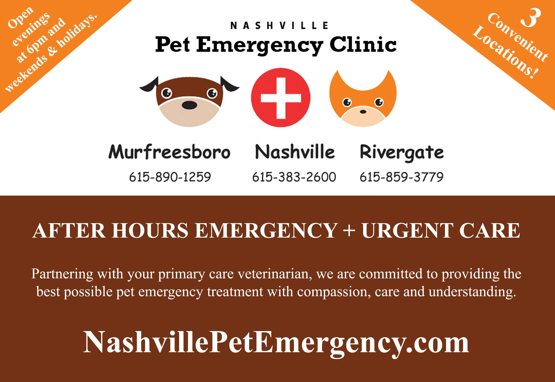 Thanks to Nashville Pet Emergency Clinic for supporting