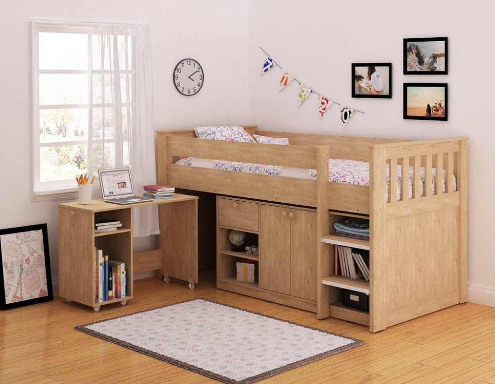 Merlot Children S Oak Mid Sleeper Bed 3ft Single With Storage And Desk In 2020 Mid Sleeper Bed Kid Beds Bed Shelves
