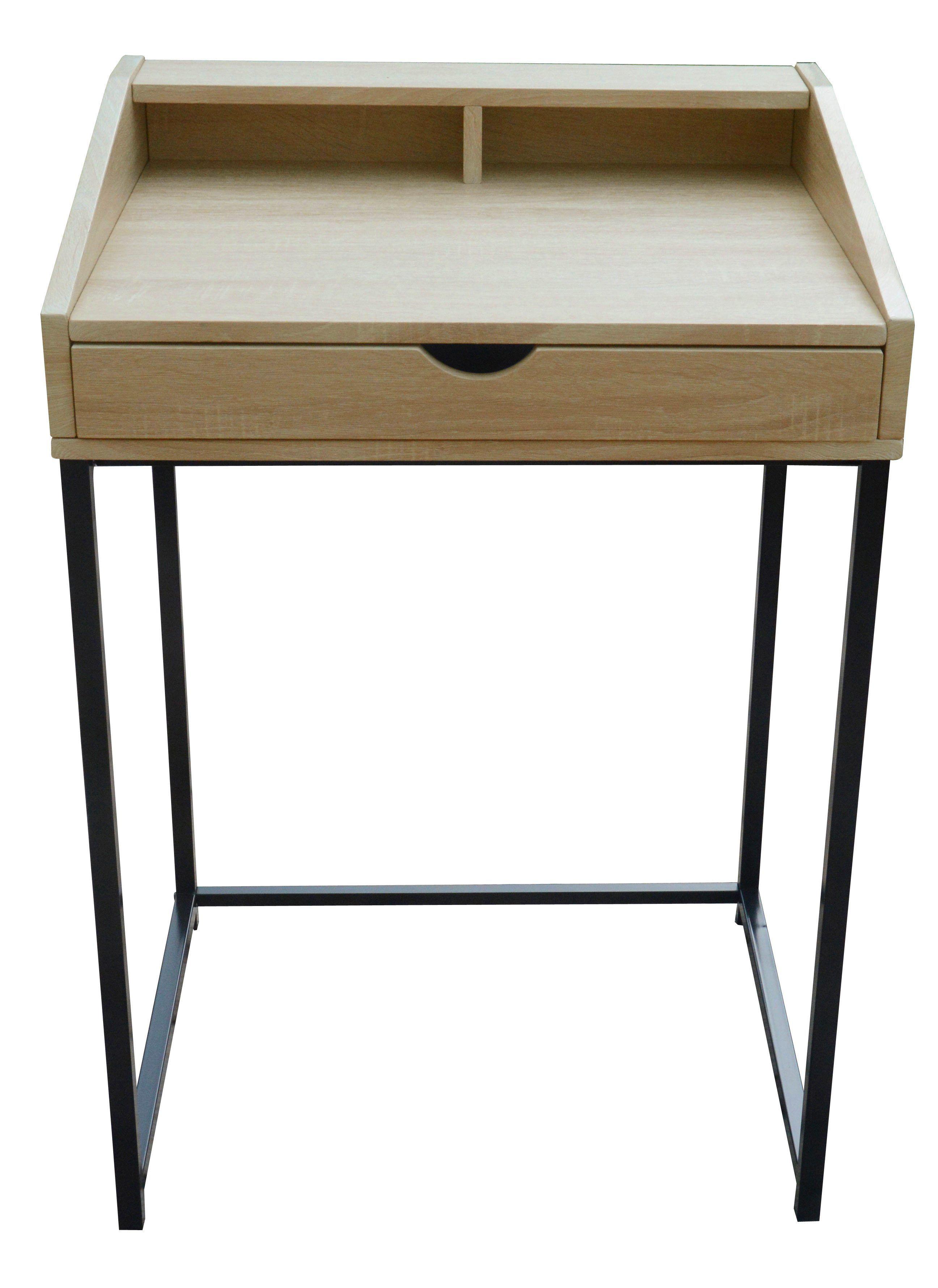bureau ludo chêne et noir | bureau pour chambre, ordinateur pas cher
