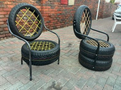Patio garden tyre chairs tyres pinterest tire for Tyre furniture