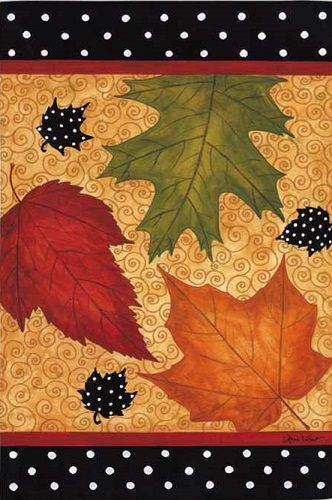 Evergreen Flag - Falling Leaves Decorative Flag at Garden House Flags at GardenHouseFlags
