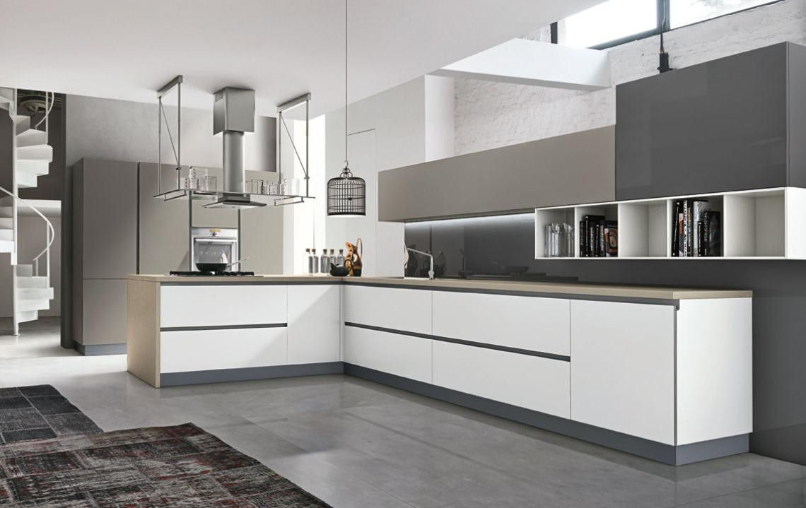 Cucina Bianca Con Top Grigio Scuro | Cucina Bianca Moderna Idee Di ...
