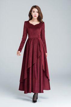 Cocktail dress, wine red dress, corduroy dress, romantic dress, long dress, party dress, wedding dress, layered dress, fall dress 1612#