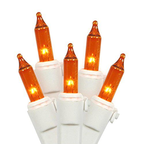 Set of 100 Amber Mini Christmas Lights White Wire ** More info could ...