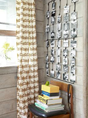 Photo Display    Display, $55: Harvest Home's wire photo rack shows off an ever-changing array of Ian's images. (harvesthomestores.com)        Read more: Budget Decorating Ideas from a California Cabin - Small Space Decorating Ideas - Country Living
