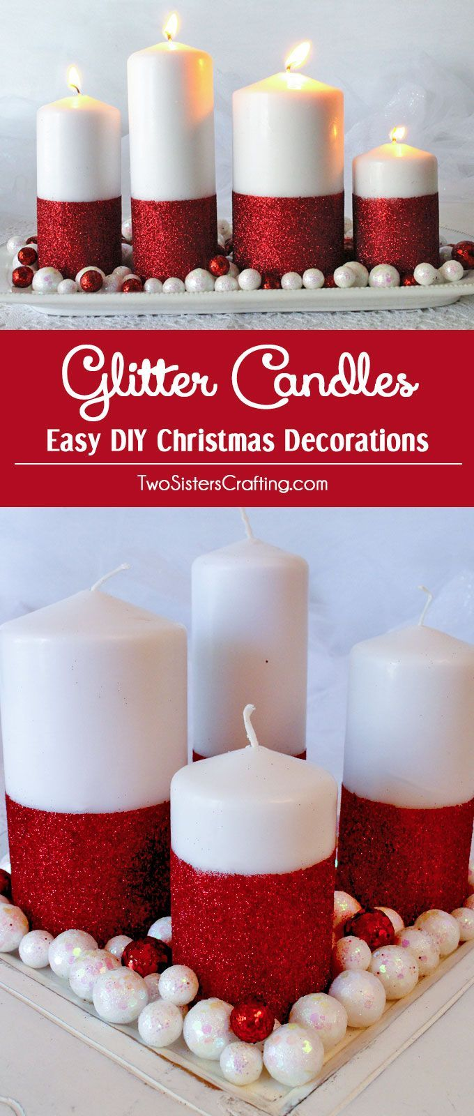 Glitter candles easy diy christmas decorations diy christmas glitter candles easy diy christmas decorations we show you how to turn candles from plain to spectacular in this fun and easy christmas craft project solutioingenieria Gallery