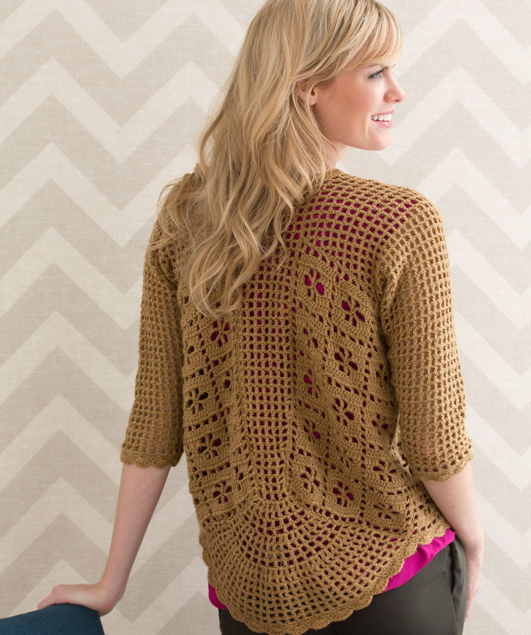 Crochet lace cardigan, can extend the length of the sleeves. Free ...