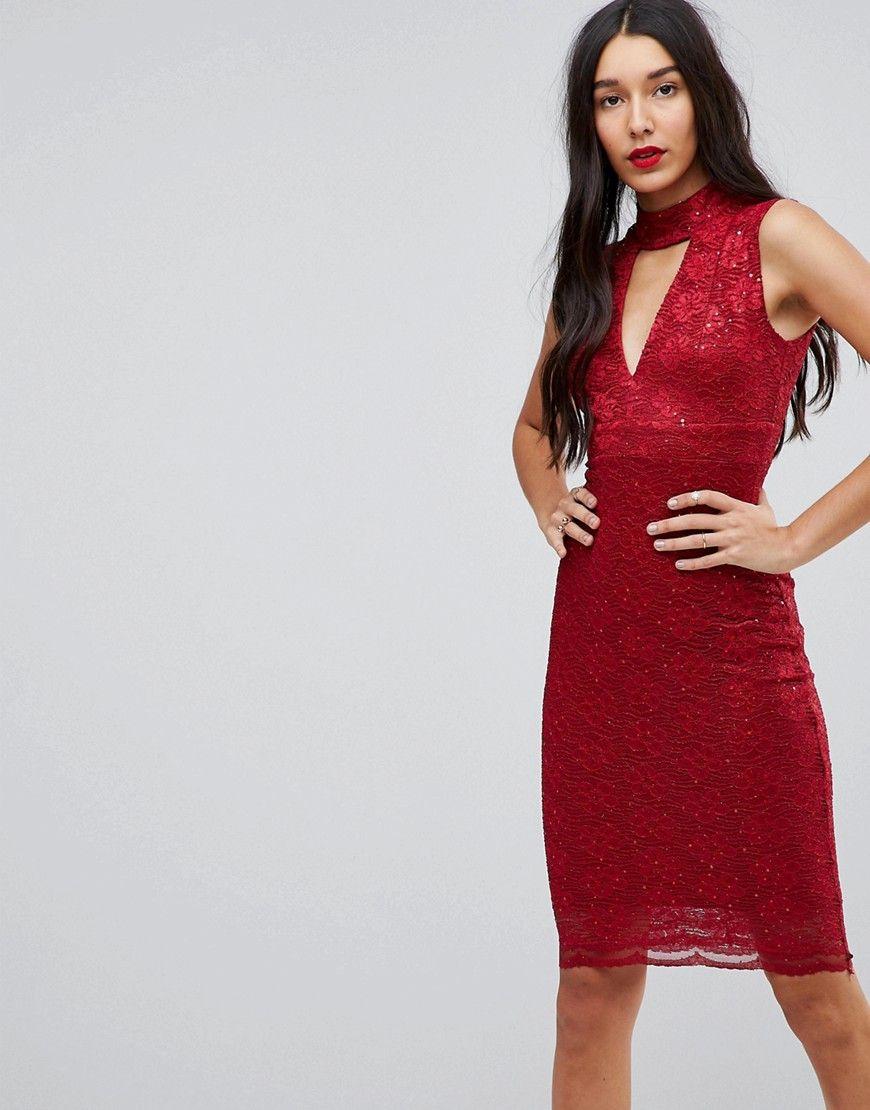 Jessica Wright - Figurbetontes Kleid mit Halsband-Design - Rot Jetzt ...