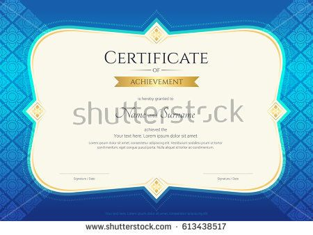 Certificate of achievement template in vector with applied Thai - certificate achievement template