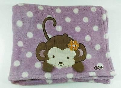 Cocalo Lavender & White Dots Jacana Monkey Plush Soft Baby Blanket Purple  B419
