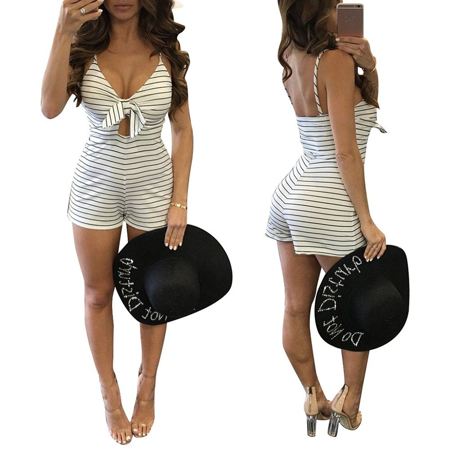 20318f55741 Women s Summer Striped Sexy Sling Bohemian V-Neck Rompers Jumpsuits ...