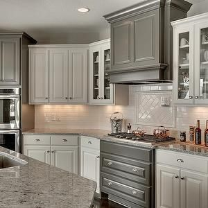 Best Kitchen With White And Gray Cabinets Transitional 400 x 300