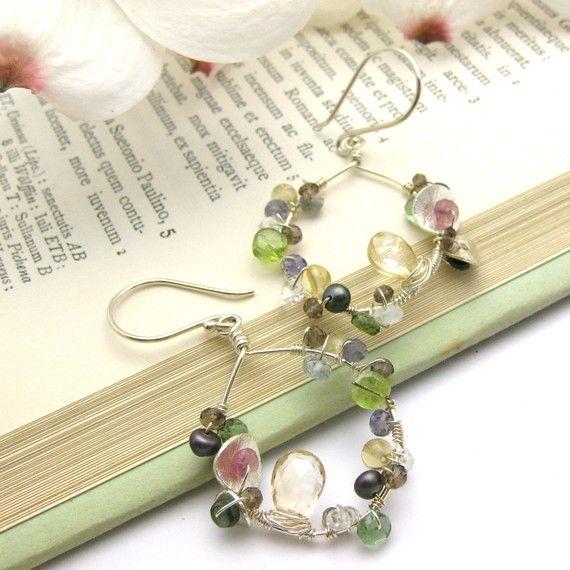 flowers in a garden, these earrings are full of beautiful gemstones in full bloom Argentium Sterling Silver @byjodi $145 #looksgoodonya
