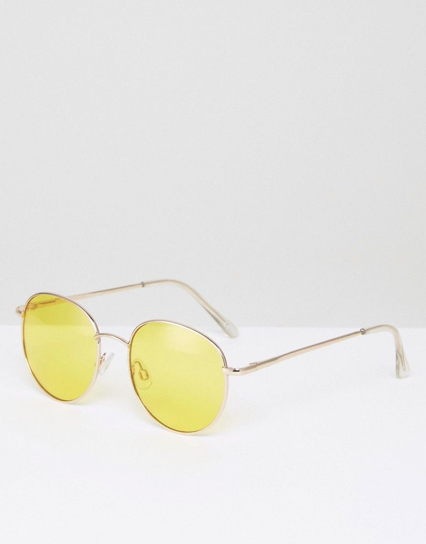 649c2b6cc6d ASOS 90S Round Sunglasses With Yellow Colored Lens - Gold