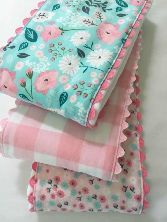 Cloth Diaper Burp Cloths ~ Baby Girl Gerber Cloth Diapers ~ Shabby Chic Nursery ~ Buffalo Plaid ~ Vintage Nursery ~ Pastel Nursery