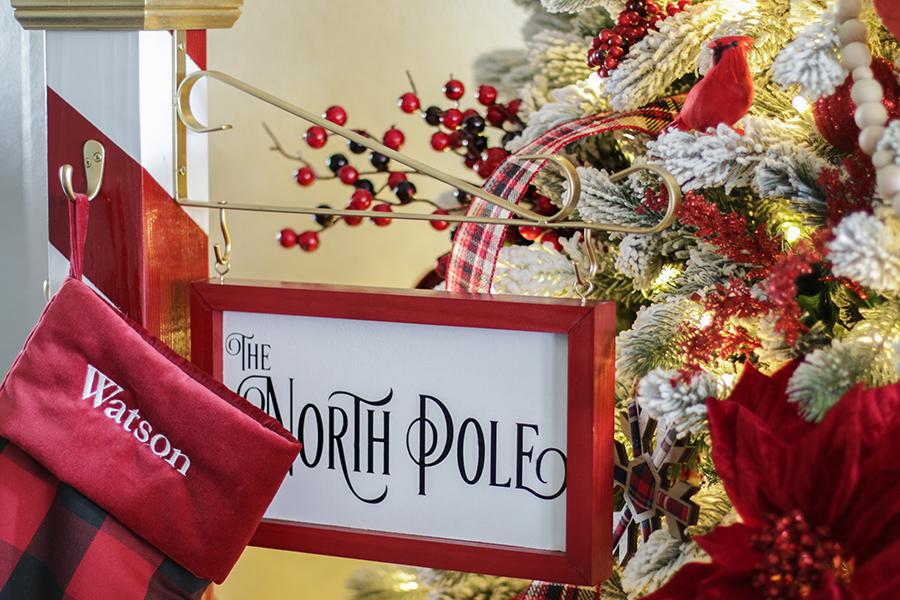 North Pole Christmas Stocking Holder Christmas stocking