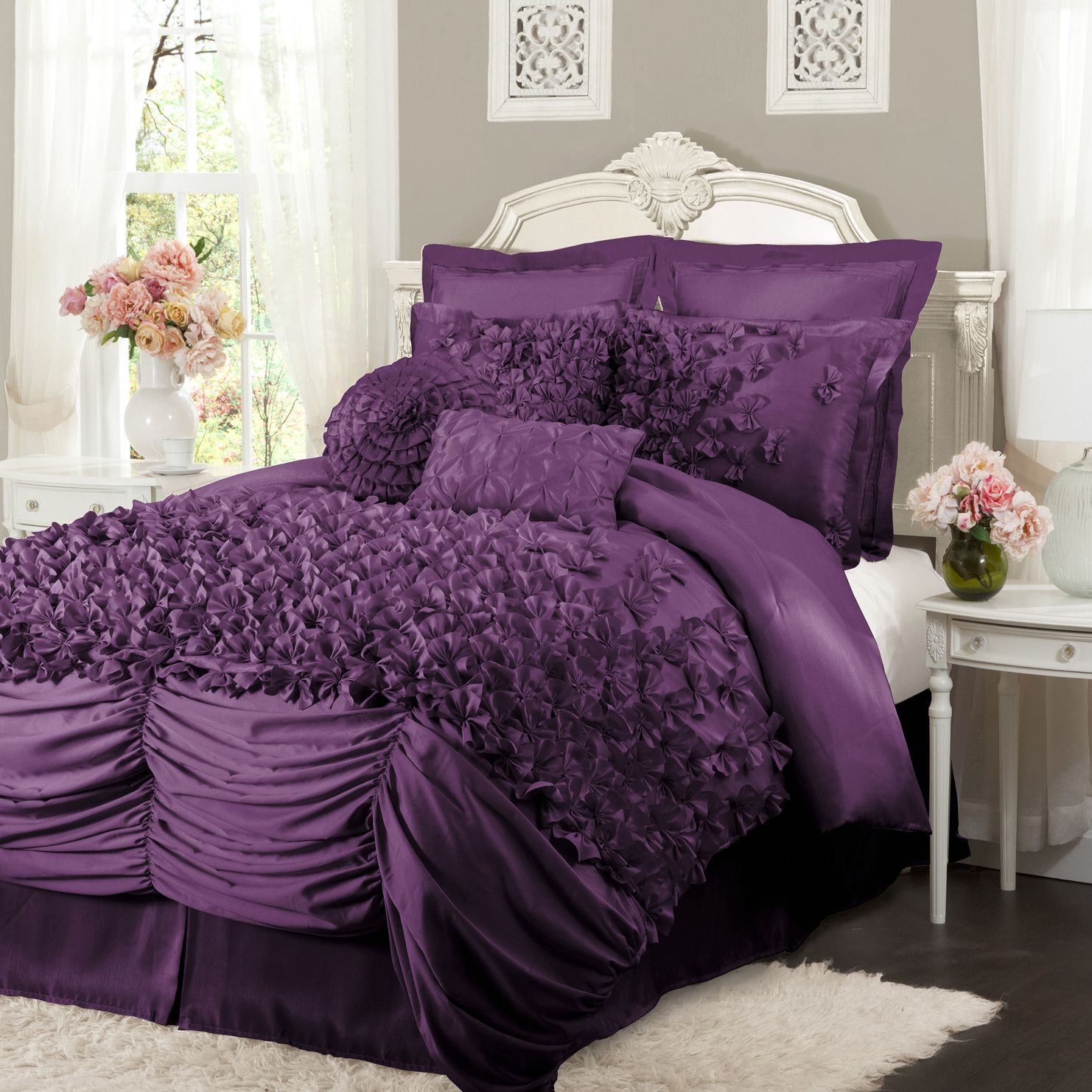 Black and purple bed sheets -  Purple Bedding Lush Decor Lucia 4 Piece Comforter Set Omg My