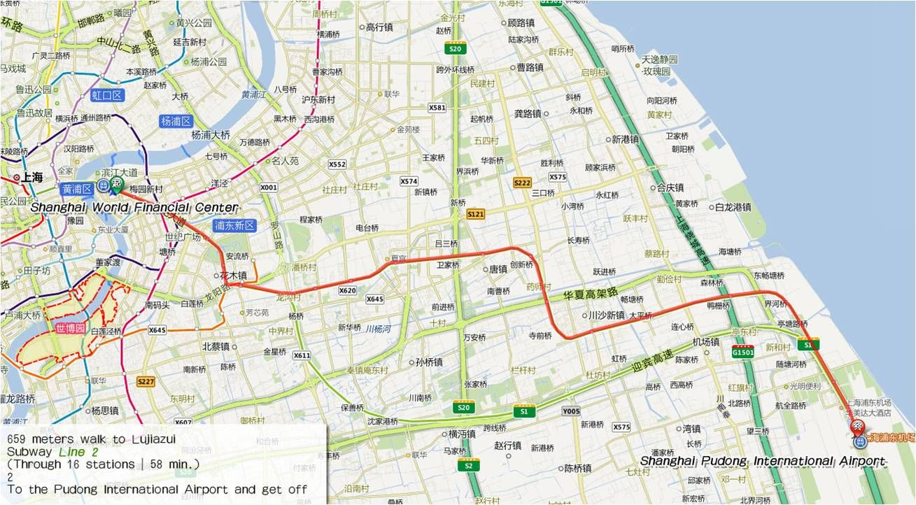 Shanghai Pudong International Airport is located 30km from the