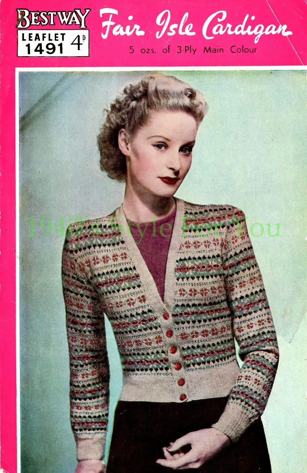 7fcd9bd4620f2c 1940 s Style For You  Free Knitting Pattern - 1940 s Fair Isle Cardigan .