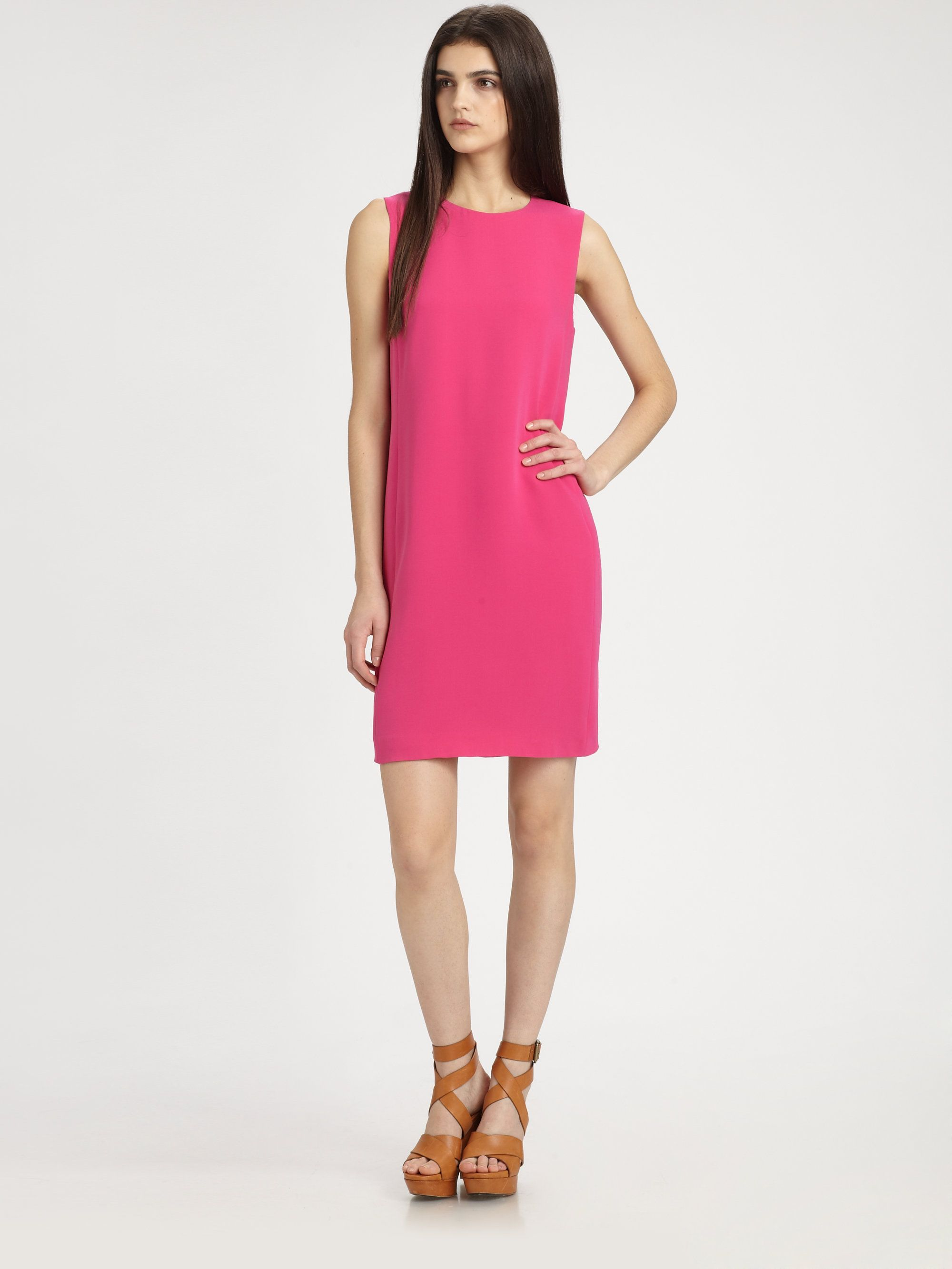 Women's Pink Sleeveless Silk Shift Dress | Silk, Hot pink and Clothing