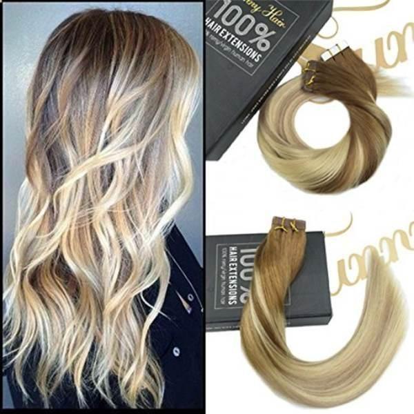 Tape In Brown To Dark Ash Blonde Highlight Blonde Human Hair