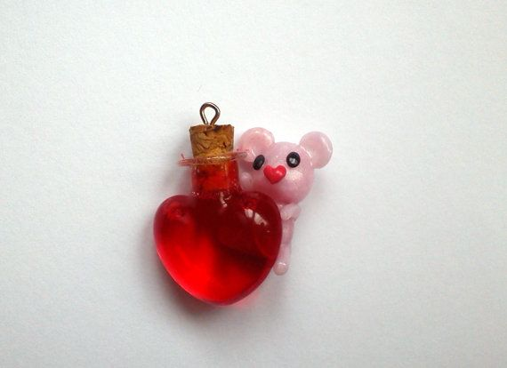Heart Bottle with Polymer Clay Bear Charm