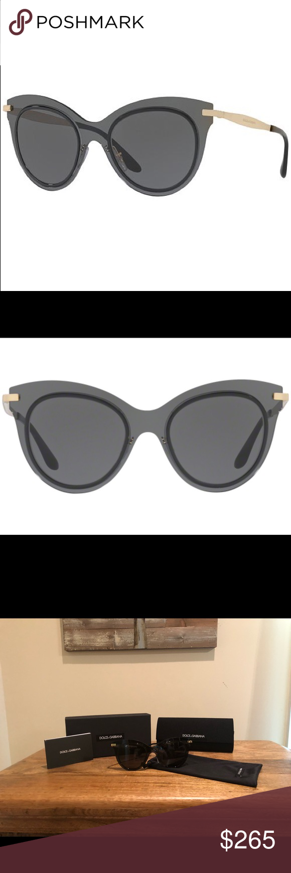d5eec2e6acf2 DOLCE   GABBANA DG2172 Sunglasses Dolce   Gabbana DG 2172 in smoke and  gold. Brand new. Comes with case