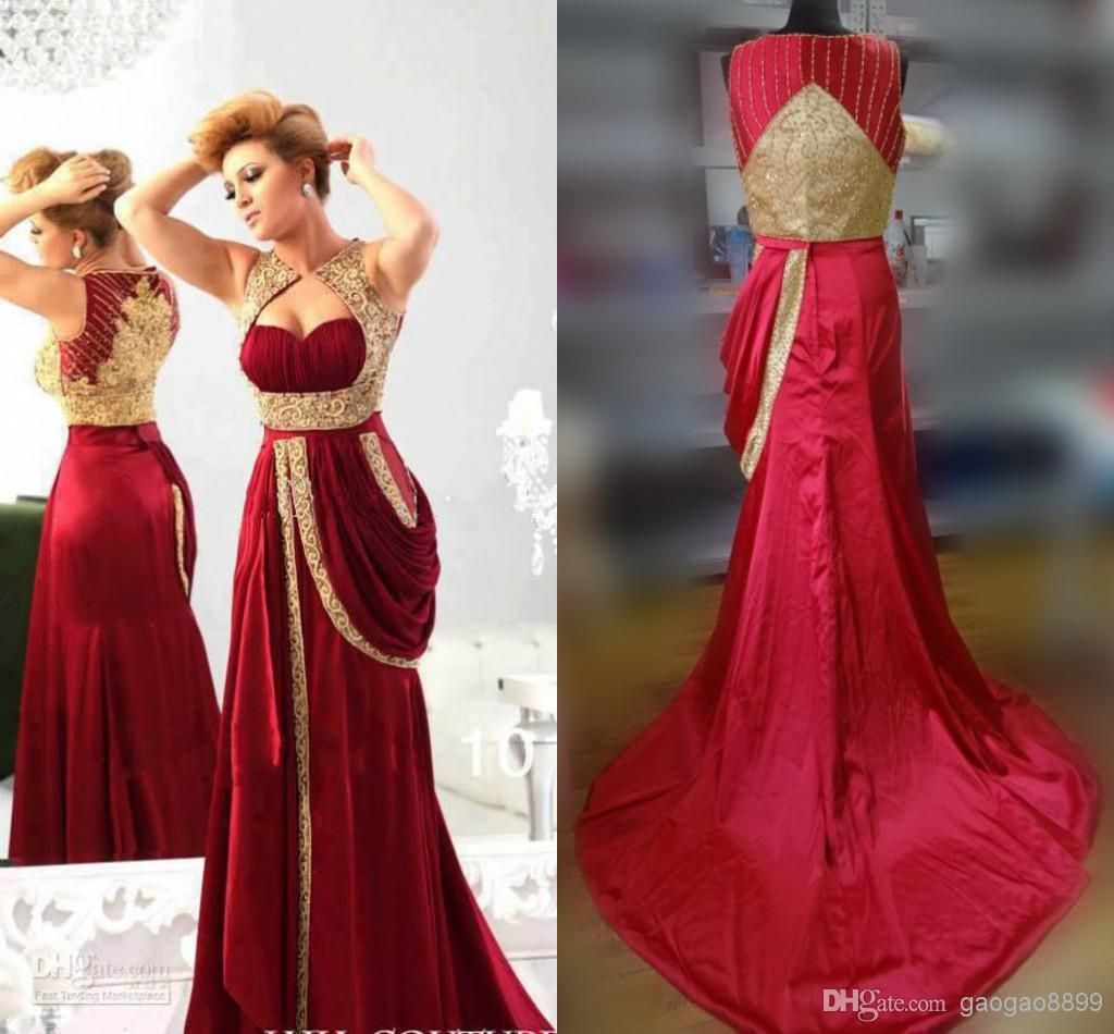 Discount Best Selling 2014 Burgundy Red Gold Beaded Evening ...