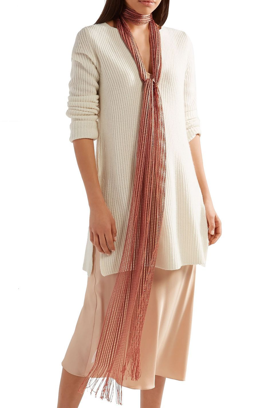 Photo of Antique rose Metallic fringed crochet-knit scarf | Sale up to 70% off | THE OUTNET | CHLOÉ