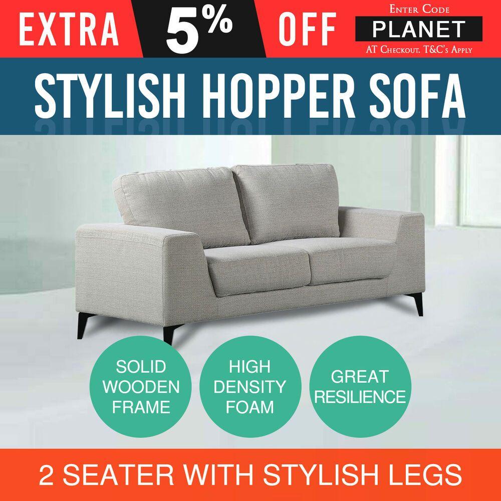 Stylish 2 Seater Sofa Grey High Density