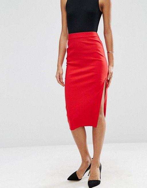 188ef4577 ASOS | ASOS Bengaline Pencil Skirt with Side Split | Fashion ...
