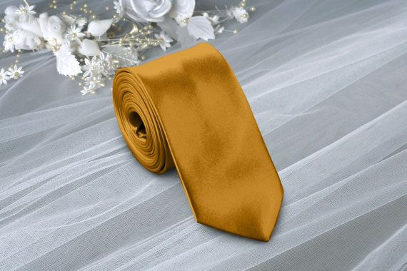 Satin Mustard Gold Skinny Tie. Solid Mustard  от DreamWeddingg