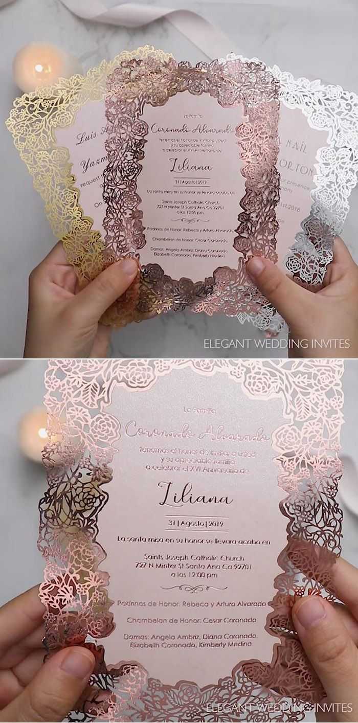 Rose gold foil printing wedding invitation card