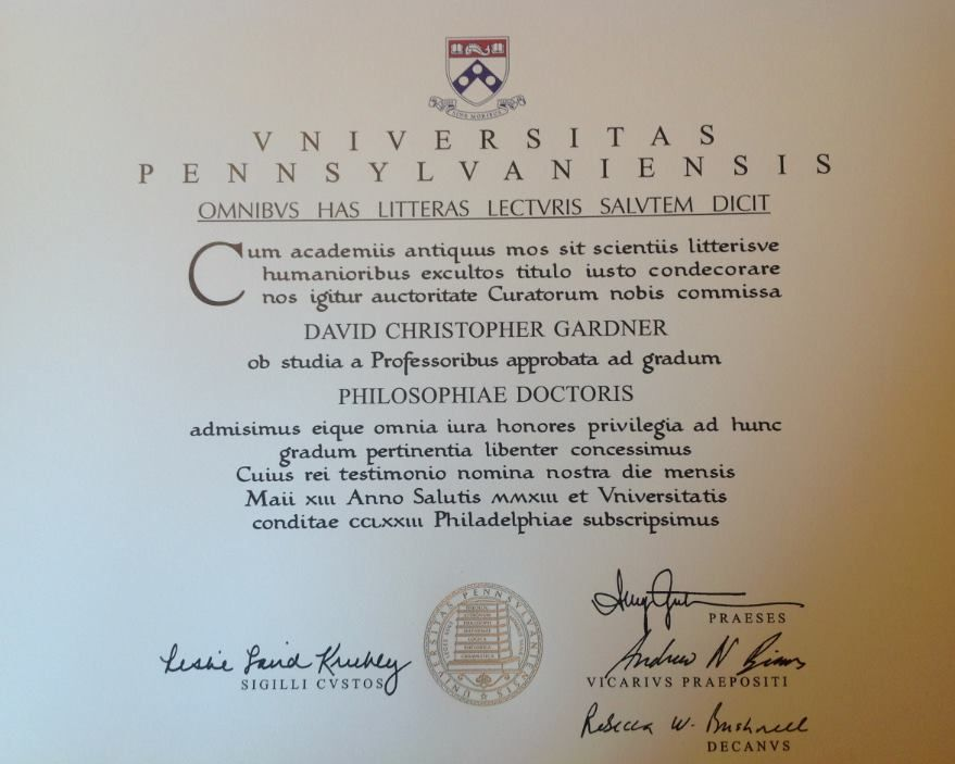 Diplomas From The University Of Pennsylvania Have Been In Latin Nearly All Their 260 Years This Is Davids PhD Diploma