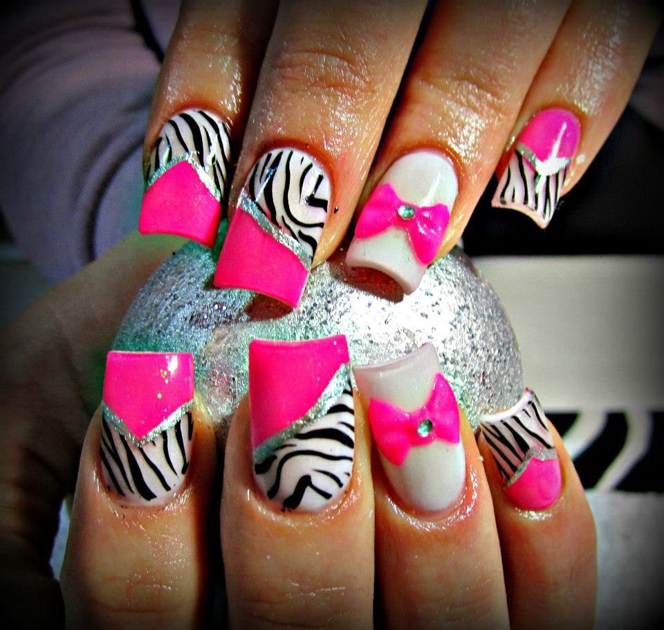 Pink zebra nails nails pinterest - Pink Zebra Nails With Sparkles I 3 These